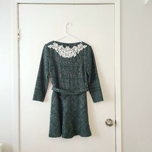 ZARA Lace Embroidered Belted Green Dress Medium